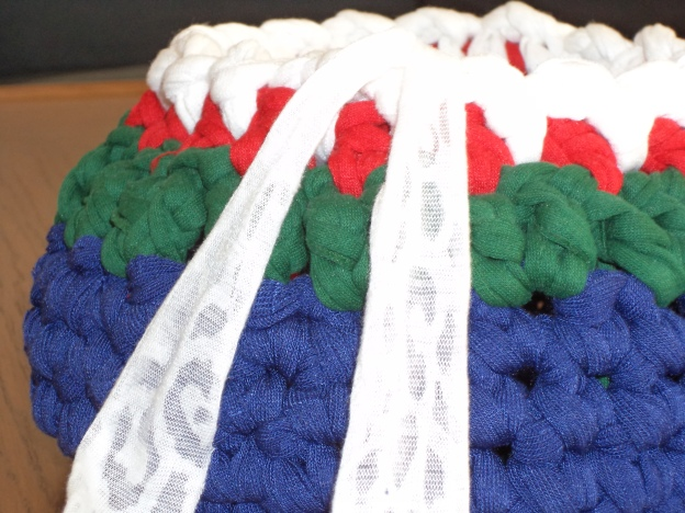 crocheted fabric yarn basket