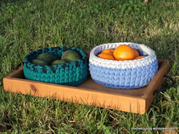 Crochet Fabric Yarn Baskets